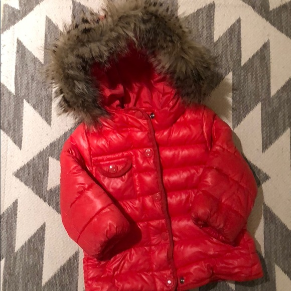 326d8fef87bf GAP Jackets & Coats | Bright Red Hooded Puffer Jacketremovable Faux ...